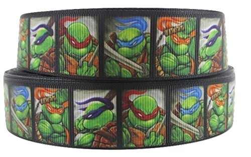 "Teenage Mutant Ninja Turtles 1metro Nero, Faces Character Cartoon nastro 1""25mm"