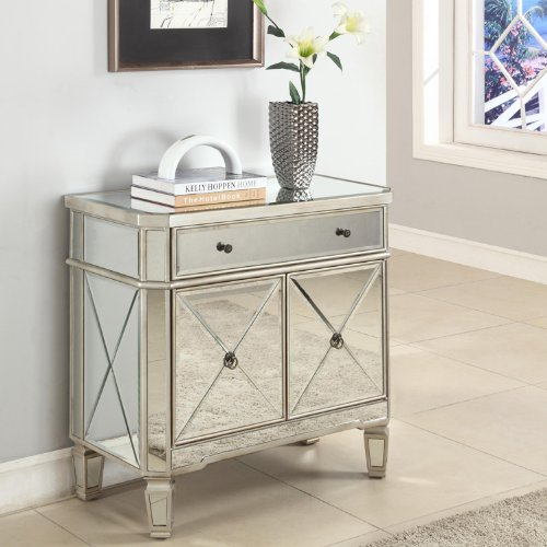 Powell Mirrored 1-Drawer, 2-Door Console (Mirrored Furniture Console compare prices)