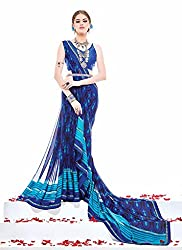 Clothsguru Women's Georgette Saree with Blouse Piece (Blue)