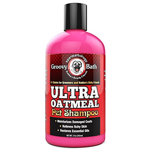Bubbas Groovy Bath Ultra Oatmeal Dog Shampoo-Conditioner 17oz Bottle Restores Essential Coat Oils Soap Free-Relieves Dry Itchy Skin- Ultra Cleaning Odor Remover Wash For Dogs-Cat Conditioning Bath