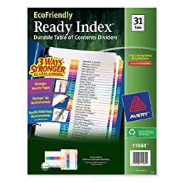 Avery EcoFriendly Ready Index Table of Contents Dividers, 31-Tab Set (11084) by Avery