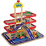 CP Toys Wooden 4-story Parking Garage with 4 Wooden Cars and a Helicopter / 9 pc. Set