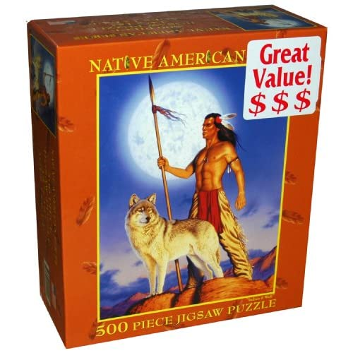 Native American Series 500 Piece Jigsaw Puzzle   Indian & Wolf: Toys