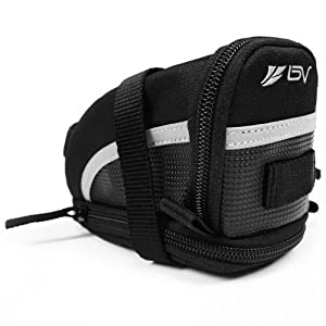 BV Bicycle Strap-On Saddle/Seat Bag, Medium, Black