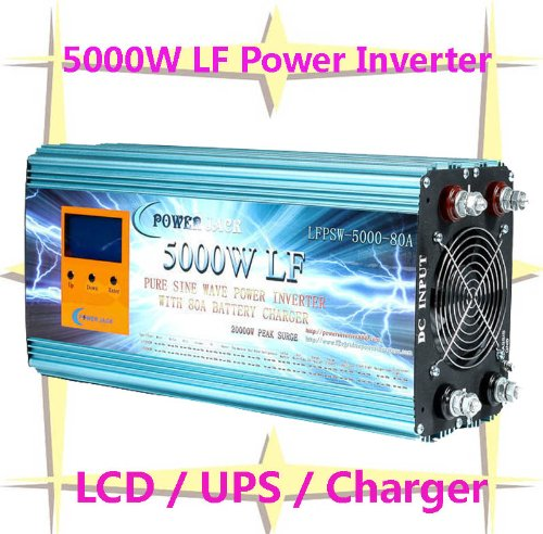 "5000 Watt Continual 20000 Watt Surge Low Frequency Pure Sine Wave Power Inverter Converter Transformer 24 V Dc Input / 110 V-120 V Ac Output 60 Hz Frequency With 80A Battery Charger Power Tools 3.5"" Lcd/Ups/Charger"