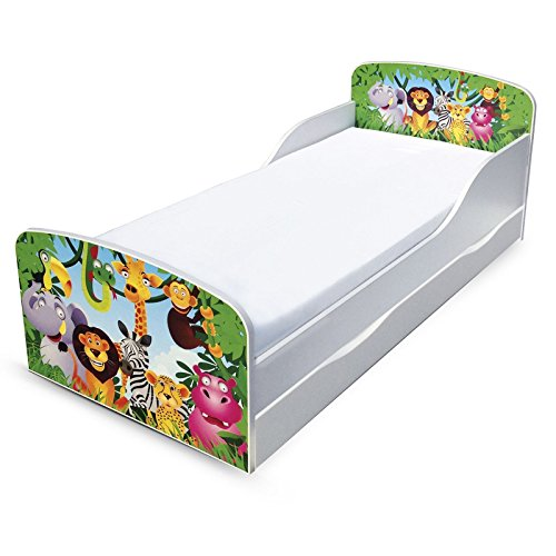 PriceRightHome Jungle Design MDF Toddler Bed with storage