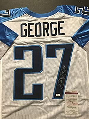 Autographed/Signed Eddie George Tennessee Titans White Football Jersey JSA COA