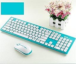 Srocker G9300 2.4G Wireless Keyboard with Mouse, Blue