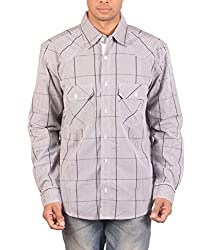 VERTIGO Men's Cotton Shirt (VERGRYSML001_Multi-Coloured_44)