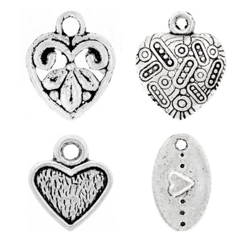 80 Assorted Mixed Tibet Tibetan Silver Antique Heart love Charm Pendant U-TS0617
