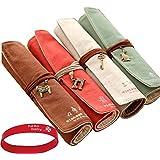 Eforstore 4 Pcs Pastorable Canvas Pen Bag Pencil Case Cosmetic Makeup Bag Pouch (4Pcs Roll Up Retro)