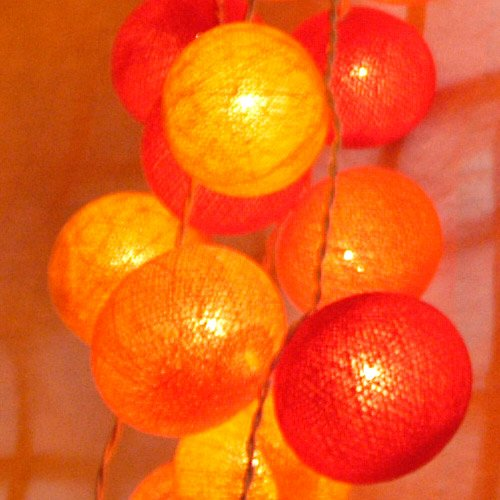 Cotton Ball String Light Set (Yellow,Orange&Red Colour) with White Cord for Birthday Party Decorating, Garden Party Decorations or Wedding Lights Product of Thailand