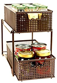 DecoBros Two Tier Mesh Sliding Cabinet Basket Organizer Drawer,Bronze