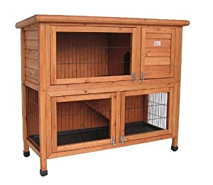 BUNNY BUSINESS Double Decker Rabbit/ Guinea Pig Hutch with Legs/ Deluxe Hutch Cover, 41-inch
