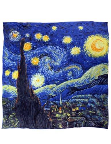 Dahlia Women s 100% Luxury Square Silk Scarf - Van Gogh s Painting Collection