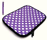 Emartbuy Bundle Pack of Purple Capacitive/Resistive Touchscreen Stylus Pen & Polka Dots Purple / White ( 10-11 Inch Tablet / eReader / Netbook ) Water Resistant Neoprene Soft Zip Case/Cover suitable for Samsung N150 Plus ( 10-11 Inch Tablet / eReader / N