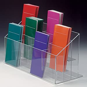 "Pamphlet Dispenser 17""w x 7 ¼""h Clear Acrylic 3 Tiered Literature Rack - (12) 2""d Brochure Holder Pockets - Counter Display"