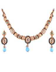 Gehna Antique Brass Gold And Blue Colored Necklace Set