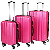 Vojagor TRSE06 Set of 3 Hard Shell Suitcases DIFFERENT COLOURS (Pink)