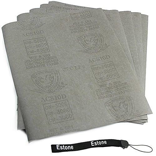 "Estone 5 Sheets Sandpaper 3000 Grit Waterproof Paper 9""X11"" Wet/Dry Silicon Carbide front-612307"