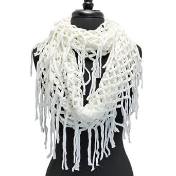 Luxury Divas White Wide Open Knit Crochet Long Fringed ...