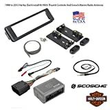 Scosche HD7000B 1996-Up Harley Davidson Stereo Install Dash Kit With HDSWC1 Universal Steering Wheel Handle Bar Control Interface And Enrock Radio Antenna - Complete Motorcycle Stereo Install kit