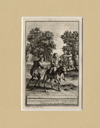 AntiquePrint-FABLE-MILLER-CHILD-DONKEY-Lafontaine-1759