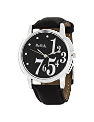 Relish White Analog Leather Round Automatic Casual Wear Watches For Men - B00XPMQHWU