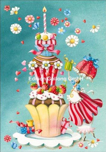 Doppelkarte mit Umschlag ~ Nina Chen ~ Frau mit Geburtstagskuchen * mit Strasssteine