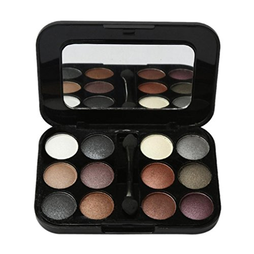 Pro 12 Colors Pro Eyeshadow Palette Cosmetic Brush Mirror Makeup Set (C)
