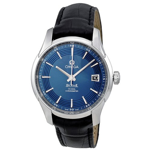 Omega DeVille Blue Dial Black Leather Mens Watch 431.33.41.21.03.001 (Omega Hour compare prices)