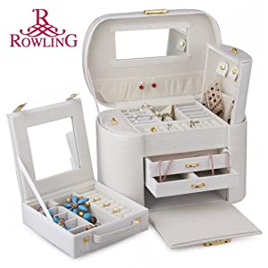 ROWLING Large Faux Leather Jewelry Case Storage Box Watch Box Cosmetic Case 152 at Sears.com