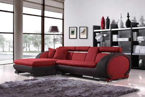 Vig Furniture 1088B – Red Fabric Sectional Sofa – Left Facing