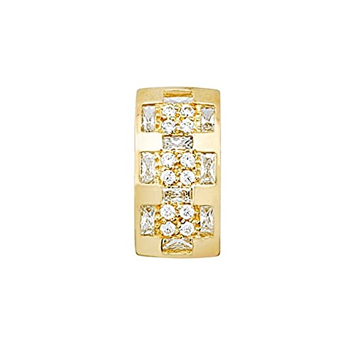 18k gold pendant zircons wide rows [AA4639]