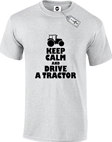 Keep Calm And Drive un trattore.Premium da uomo Unisex adulto magliette. Consegna gratuita inclusi. Grey L