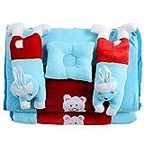 White Swan Rabbit Baby Sky Blue Velvet Rajai Set ( Age Group: 0-2 Years )