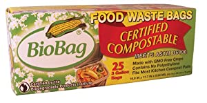 BioBag Food Waste Compostable Bags (3 Gallon), 25-Count Boxes (Pack of 4)