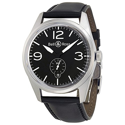 Bell and Ross Vintage Black Dial Black Leather Mens Watch BRV123-BL-ST-SCA
