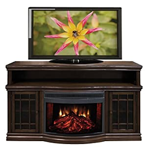 Electric Fireplace Media Mantel with Curved Front Firebox - Espresso
