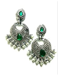 Ethnic Fashion Earrings With Pearl And Coloured Crystals In Silver Finish, Green