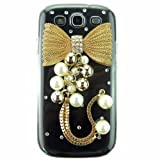 3d Hand Made Crystal Golden Bow Bling Pearls Transparent Back Hard Case Cover Shell for Samsung Galaxy S3 I9300