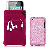 APPLE IPOD TOUCH 4TH GEN 4 PC LUXURY GIFT ACCESSORY PACK - PINK BUTTERFLY PATTERN DIAMANTE CASE / COVER / SHELL / SHIELD, SCREEN PROTECTOR, HEADSET, POUCH CASE PART OF THE QUBITS ACCESSORIES RANGE