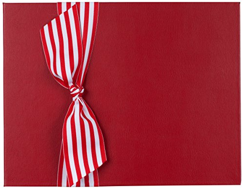 Tessera Baby Books Memory Book with Stripe Grosgrain Ribbon, Red/White
