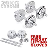 MAXSTRENGTH 20kg chrome cast iron dumbbell weights set fitness exercise workout in a carry case WITH FREE GLOVES