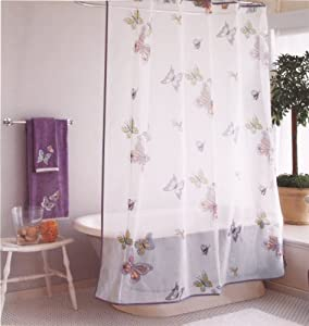 Purple Butterfly Organic Cotton Shower Curtain 72 Inch