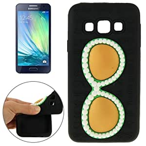 Crazy4Gadget Fashionable Glasses Pattern Silicone Protective Case for Samsung Galaxy A5 / A500F(Black)