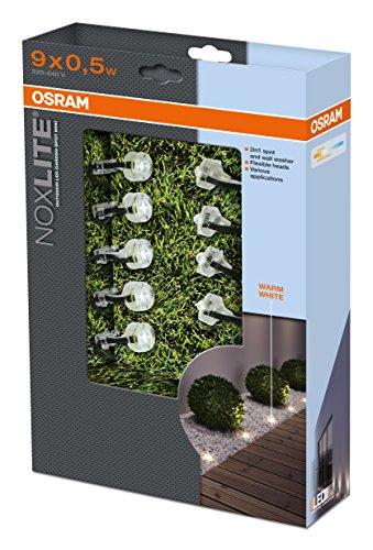 osram 41102 noxlite led garden spot mini set di 9 lampade led per esterni 9 x 0 5 watt. Black Bedroom Furniture Sets. Home Design Ideas