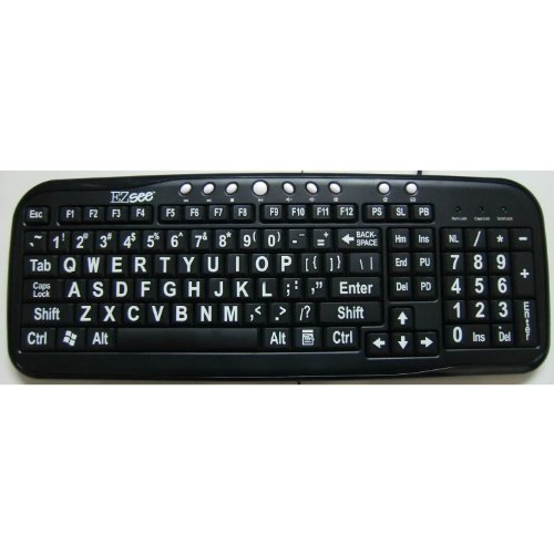 New Improved Ezsee By Dc Large Print Keyboard, Black Keyboard Background And Frame With White Letters Or Characters, Wired Usb Connector