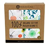 "Organic Muslin Swaddle Blankets by Margaux & May | 47"" X 47"" 