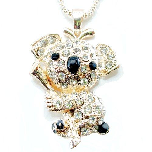 Daisyjewel Cute Couture Koala Bear Necklace: Darling Rose Silver & Black Koala In Swarovski Crystal front-575553
